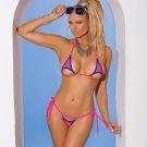 2pc Neon Pink Lycra Bikini Top & Matching G-String w/ Blue Trim - One Size