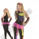 4pc Black Light Receptive Scary Bones Skeleton Costume - Small