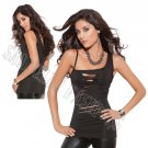 Black One Shoulder Tank Top w/ Cut Out Panel Front - Medium