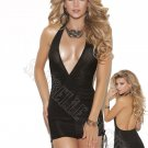 Black Deep V Halter Neck Mini Dress - Large