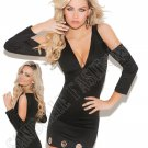 Black Long Sleeve V Neck Dress w/ Open Shoulders - Large