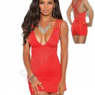Red Deep V Mini Dress w/ Criss Cross Triple Strap & Ruched Back - Large