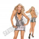 Metallic Silver/Black Deep V Halter Mini Dress - Large