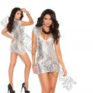 Silver Cut Out  Lamé Deep V Short Sleeve Mini Dress - Large