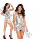 Silver Cut Out  Lamé Deep V Short Sleeve Mini Dress - Medium