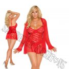 3pc Red Lace Baby Doll w/ Matching Long Sleeve Jacket & G-string - 2X