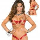 2pc Red Underwire Lamé Bra w/ Rings & Matching Thong - One Size