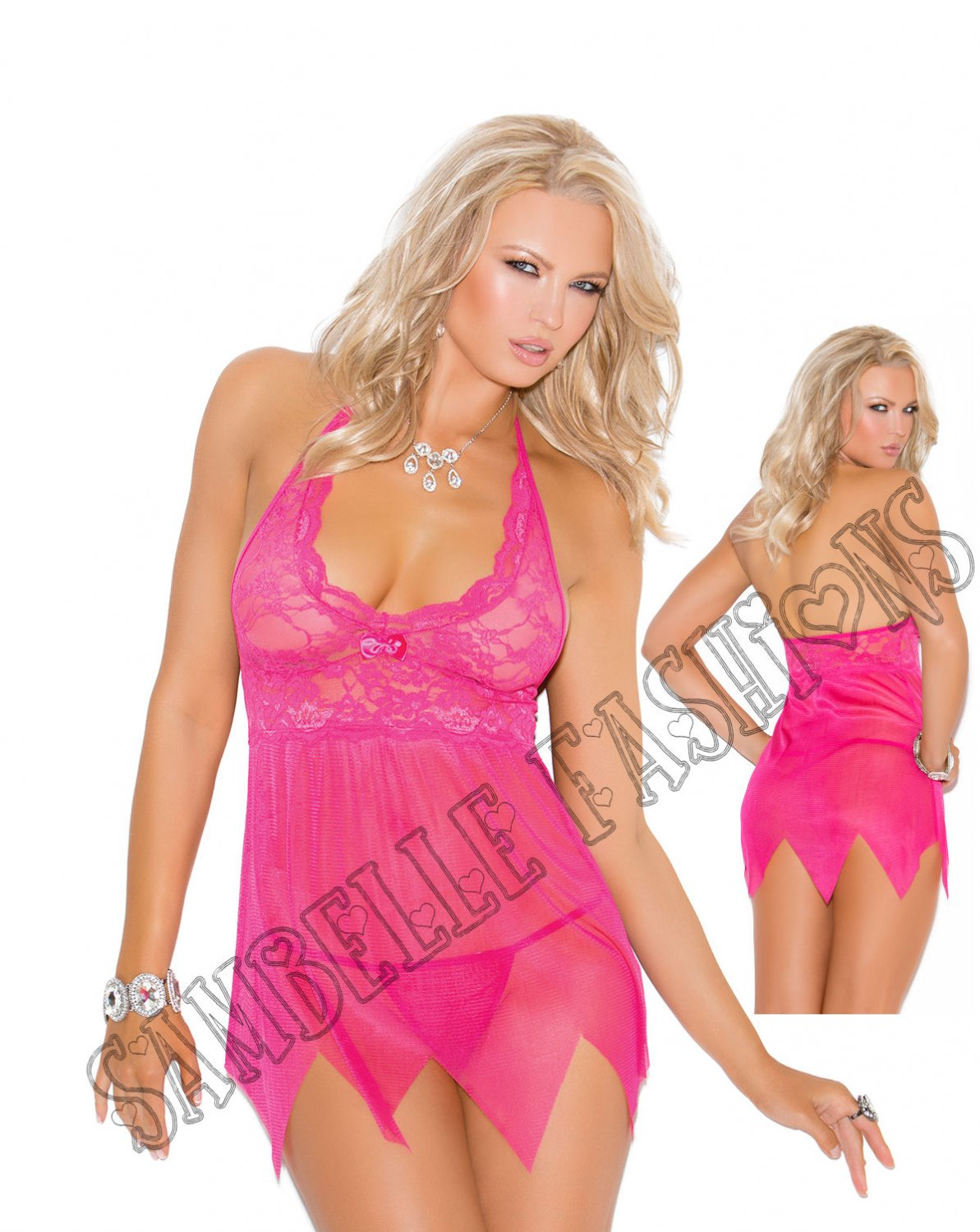 2pc Raspberry Lace & Mesh Babydoll w/ Matching G-String  - Large