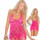 2pc Raspberry Lace & Mesh Babydoll w/ Matching G-String  - Medium