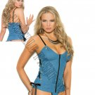2pc Denim Zip Front Bustier w/ Side Tie Detail & Matching G-String - Large