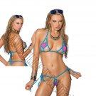 2pc Neon Pink Lycra Bikini Top & Matching G-String w/ Turquoise Trim - One Size