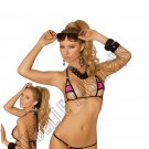 2pc Neon Pink Lycra Bikini Top & Matching G-String w/ Black Trim - One Size
