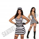 3pc Convict Cutie Prisoner Inmate Costume - Medium