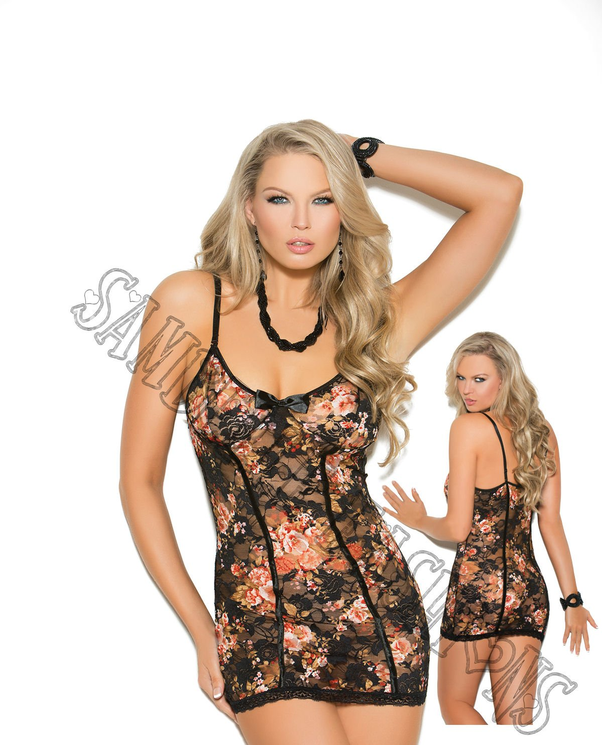 2pc - Floral Print Lace Babydoll w/ Satin Bow & Matching G-String - Large
