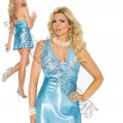 2pc - Aqua Blue Lace & Charmeuse Halter Neck Babydoll & Matching G-String - 3X