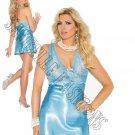 2pc - Aqua Blue Lace & Charmeuse Halter Neck Babydoll & Matching G-String - 3X