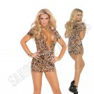 Leopard Print Super Plunge Club Dress w/ Side Ruching - X-Large