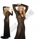 Black Long Sleeve Lace Gown - Small