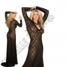 Black Long Sleeve Lace Gown - 2X