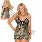 Leopard Print Chemise w/ Lace Cups & Satin Front Bow Closure - 2X