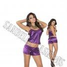 2pc Dark Purple Charmeuse & Lace Cami Top w/ Drawstring Shorts - Large