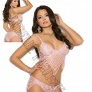 2pc Dusty Rose Pink Lace bralette w/ Underwire Cups & Matching Panty - Large