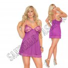 Dark Purple Mesh Double Layered Chemise w/ Lace Underwire Cups - 3X