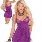 Dark Purple Mesh Double Layered Chemise w/ Lace Underwire Cups - Large