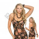 2pc - Floral Print Lace Babydoll w/ Satin Bow & Matching G-String - Small