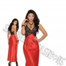 Red/Black Halter Style Charmeuse Gown w/ Lace Bodice - Large