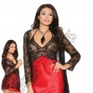 2pc Red/Black Charmeuse Chemise w/ Lace Jacket - Small
