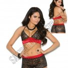 2pc Black/Red Lace & Stretch Satin Halter Bralette & Booty Shorts - Small