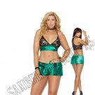 2pc Jade/Black Charmeuse & Lace Bralette w/ Drawstring Booty Shorts - 2X