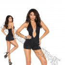 Black Lycra Halter Neck Romper w/ Silver Accent - Small