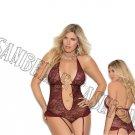 2pc Wine Lace Halter Style Teddiette w/ Deep V Neckline, Rhinestone Front Detail & Garters - 2X