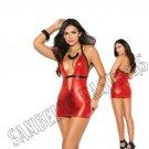 Red/Black Lamé Halter Mini Dress w/ Ultra Deep V Neckline - Large