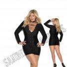 Black Long Sleeve Lycra Mini Dress w/ Grommets & Lace Up Front - 3X