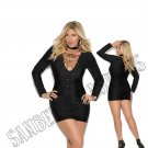 Black Long Sleeve Lycra Mini Dress w/ Grommets & Lace Up Front - 2X