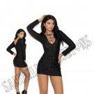 Black Long Sleeve Lycra Mini Dress w/ Grommets & Lace Up Front - Medium
