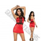Red Caged Mini Dress w/ Contrast Trim - Large