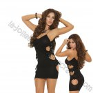 Black Opaque Mini Dress w/ Cut Out Sides & Satin Bow Detail - One Size