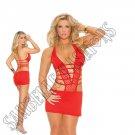 Red Deep V Lycra & Net Halter Neck Mini Dress w/ Ruched Back - 1X
