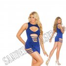 Royal Blue Keyhole Front Mini Dress w/ Cut Outs & Silver Buckle Trim - 1X