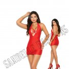 Red Stretch Satin Halter Neck Mini Dress w/ Rhinestone Jewel at Bodice - Medium