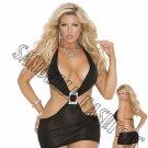 Black Deep V Mini Dress w/ Rhinestone Buckle - Queen/Plus Size