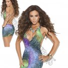 Multicolor Deep V Mini Dress - One Size
