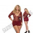 Burgundy Deep V Lace & Lycra Mini Dress w/ 3/4 Sleeves & Back Ruching - 2X