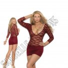 Burgundy Deep V Lace & Lycra Mini Dress w/ 3/4 Sleeves & Back Ruching - Medium