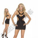 Black Opaque Mini Dress w/ Side Cut-Outs - One Size