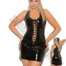 Black Vinyl Mini Dress that Laces Up the Front & Back - 2X